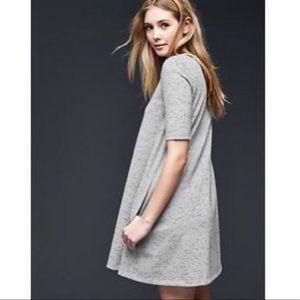 GAP Ponte Knit A Line Short Sleeve Lt Grey Dress